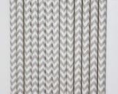 25 Light Grey and White Chevron Paper Straws birthday party wedding cake pop sticks Bonus diy straw flags