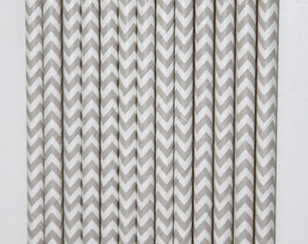50 Light Grey and White Chevron Paper Straws birthday party wedding cake pop sticks Bonus diy straw flags