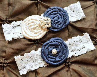 SALE Garter Wedding, Garter Bridal - Lace Garter Set, Keepsake Garter, Toss Garter, Rolled Silk Rosette Ivory Navy Blue, Something Blue Gart