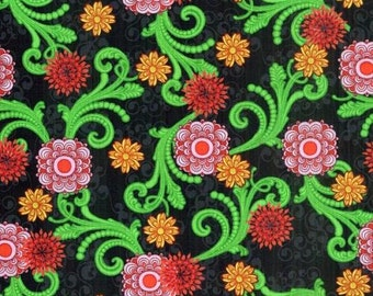 DAHLIA, black with pink, yellow and red dahlias by Blank Quilting 6643