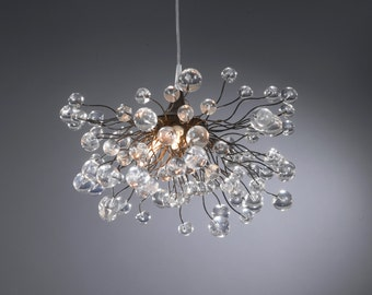 Lighting hanging chandeliers with clear Transparent bubbles for bedroom, dinning table.