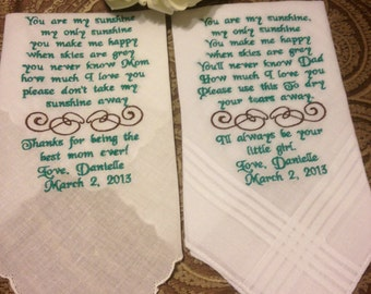 Set of Two Personalized WEDDING HANKIE'S Mother & Father of the Bride Gifts Hankerchief - Hankies you pick colors