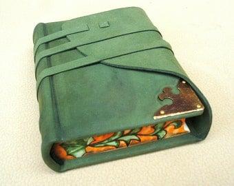 Leather Journal, Sketchbook, Green Suede, Brass Corner, Painted Edges