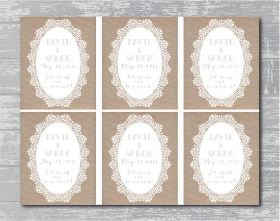 Custom Printable Wedding Wine Bottle Label - Burlap Lace Design