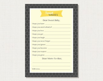 Bumble Bee Baby Shower Game – Printable Wishes for Baby Game Cards ‐ Instant Download