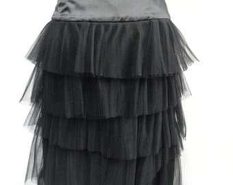 Tulle Ruffled Black Skirt
