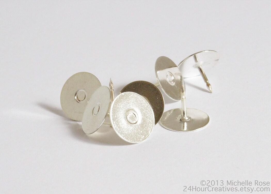 12mm Blank Tie Tacs Round Flat Pad Tie Tacks Silver