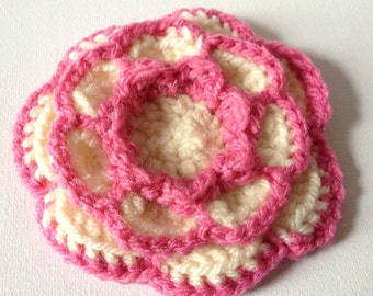 Pink Flower Brooch, Big Crochet Bloom, Two Tone Pin, Large Cream Blossom, Pink and Cream Flower Pin, Pink Flower Pin, Pink Knit Flower