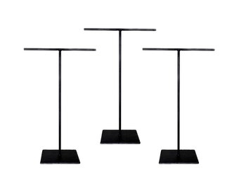 3 Extra Tall Steel Necklace T-Stand Set - Set of Three - Jewelry Holder - Metal Display