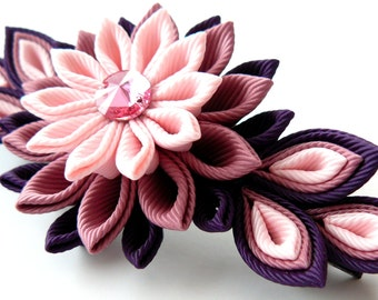 Kanzashi fabric flower french barrette.  Pink and plum.
