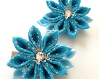 Kanzashi  Fabric Flowers. Set of 2 hair clips. Turquoise.
