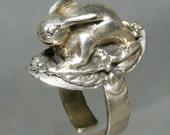 Reserved for Ilsiya - Sterling Silver Raised Bunny Rabbit  Ring Adjustable