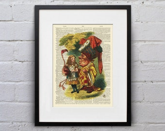 Red Queen Flamingo Croquet Alice in Wonderland - Shabby Chic Vintage Dictionary Page Book Art Print - DPAW009