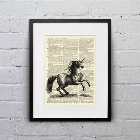 Rainbow Unicorn Badass - A Bit of Merriment Dictionary Page Book Art Print - DPMM010