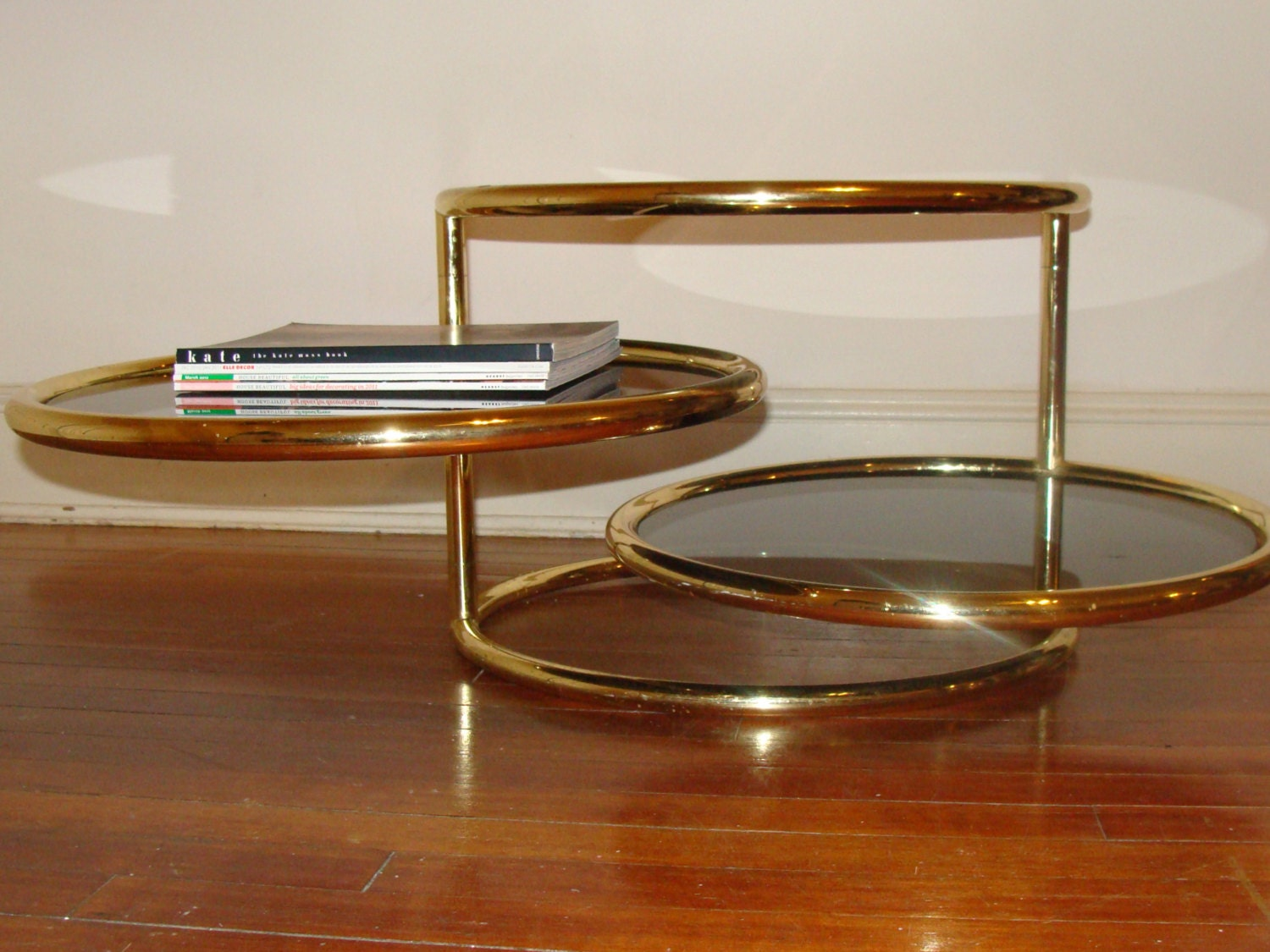 Vintage Expandable Gold Brass Coffee Table Rotating By Studio180