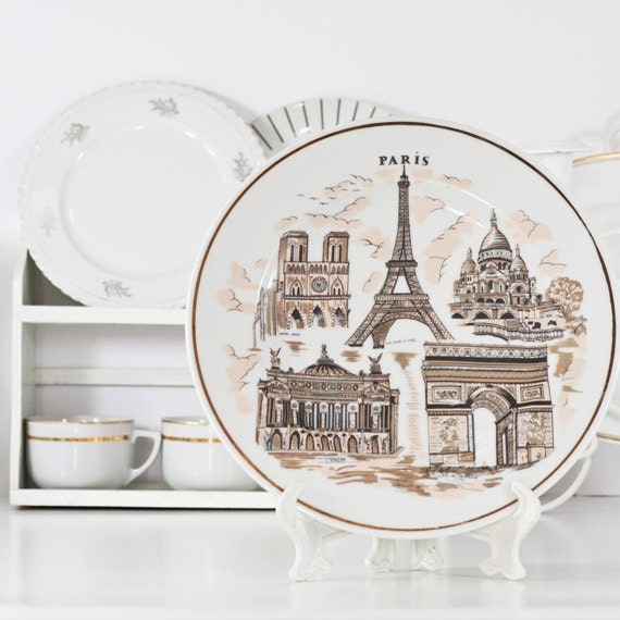 Eiffel Tower Plate Paris Decorative Wall By Cozytraditions