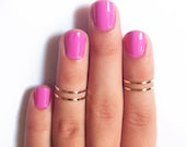 4 Thin Knuckle Rings - Gold Knuckle Rings, Gold thin midi rings - gold ring set
