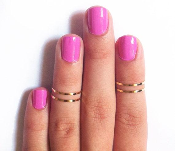 4 Thin Knuckle Rings - Gold Knuckle Rings, Gold thin midi rings - gold ring set