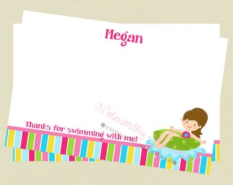 Printable Girl Pool Party Thank You Note