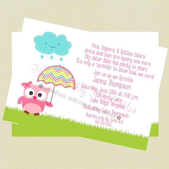 baby sprinkle invitation baby shower invitation owl theme baby