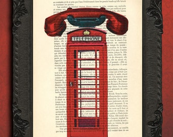 London print london telephone box art london red  phone booth print london dictionary art print