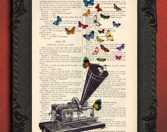 phonograph and butterfly art print antique phonograph horn print
