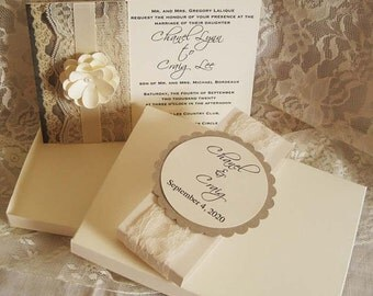 Lace Wedding Invitations, French Market Elegant, Shabby Chic, Vintage Inspired, Haute Couture Invitations