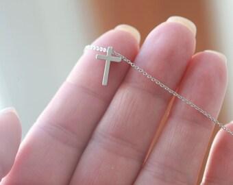 Celebrity Necklace - Tiny Silver Cross necklace - Small Silver Cross necklace - Tiny Silver Cross