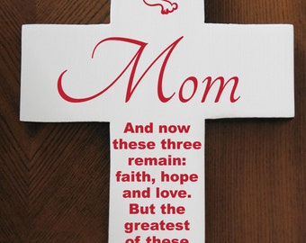 Mom or Mothers day gift Pine Handcrafted Wood Cross with Dove and Quote Poem White