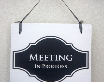 """Office Door Sign Meeting in Progress / Open Business Signage Interior Double Sided Hanging Wood Sign 11""""x9"""" Decoration 1 double-sided Sign"""