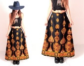 Vintage Black Yellow and Orange Patterned Bohemian 1970s Gypsy Skirt