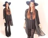 Vintage Black Sheer Drape Housecoat Duster Kimono Jacket