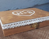 Wooden Burlap Ring Bearer Box
