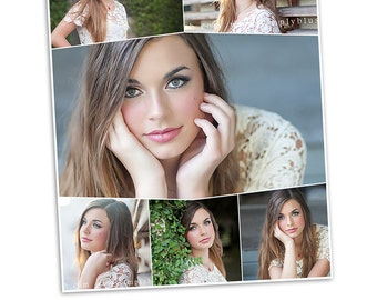 Items similar to 6x12 photoshop collage template layered for Senior photo collage templates