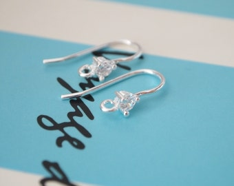 1 Pair, 925 Sterling Silver Ear Hook with CZ