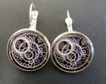 Dr Who Gallifreyan Symbol 20mm Silver Plated Drop Style Earrings
