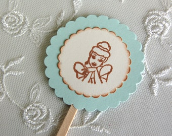 Disney Cinderella Cupcake Toppers -Set of 12 (Disney, Cinderella/ Disney Princess Birthday Party Decor)
