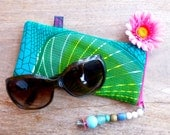 African Wax fabric Sunglass pouch by Hot Bags - Green grass of home - Turquoise & Green