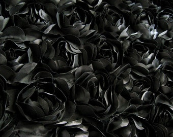 Black Satin Rosette Fabric, Costume dress fabric, photography backdrop, prop, blanket