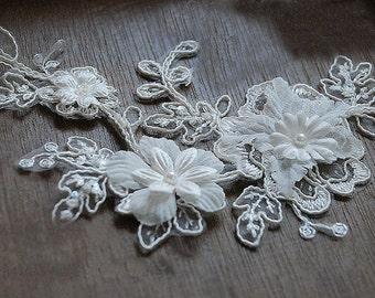 ivory 3D lace Appliqué for bridal headpiece,  Alencon Lace Applique Wedding Veil, DZDH005