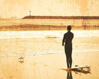 """Surf Photography, 8x8 Photograph, Beach Photography, Vintage, Distressed, California Photography, Surfer, """"Vintage Surf 2"""""""