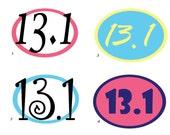 Half Marathon Car Decal Sticker 13.1