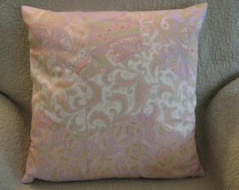 Chevron Striped Pillow Cover Pieced From Pastel Paisley Prints