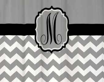 Shower Curtain Chevron YOU CHOOSE COLORS 70, 78, 84, or 90 inch Extra Long Custom Monogram Personalized for Your Bathroom. Cool Gray & Black