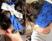 Bright Blue lace with Precious Vintage Feel Ivory Ribbon