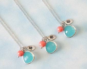 Personalized Necklace,  Mint Framed Glass with Coral Necklace,  Bridesmaid Gift, Birthday Gift