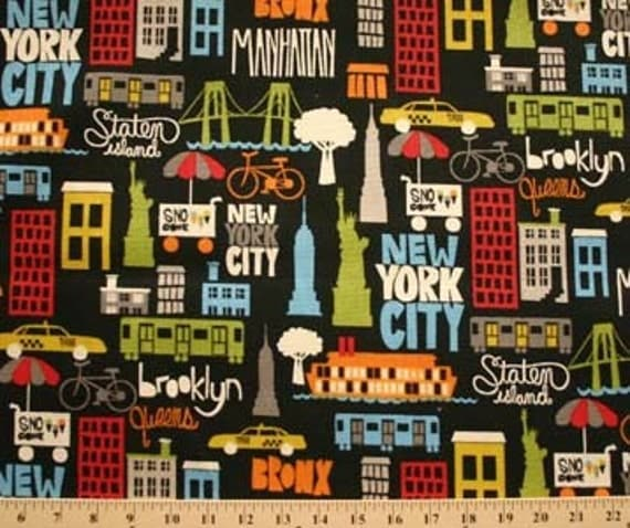 New York City Downtown Scene Staten Island By Fieldsfabrics
