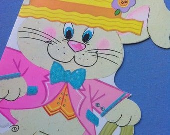 Fun Vintage Greeting Card NEPHEW EASTER Anthro Bunny