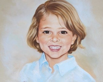 Pastel portrait commission of a child, 19.5x19,5 inches