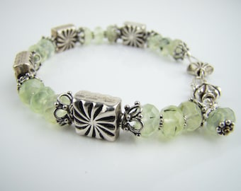 Silver bracelet with green garnet, handcrafted jewelry, gemstone bracelet, 7PM boutique